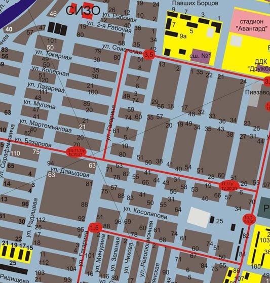 карта камышина с улицами