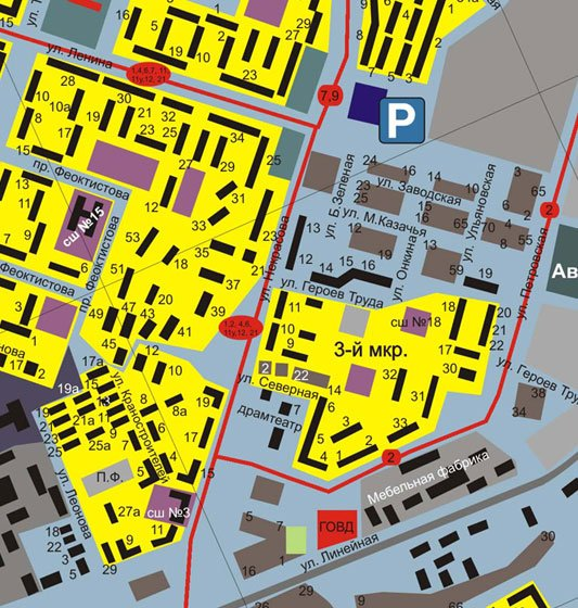 Карта Камышина с улицами и