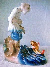 Фарфоровая статуэтка Рыбак и золотая рыбка